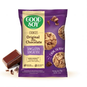 Cookies Original Com Chocolate Sem Glúten e Sem Lactose 33G - Good Soy